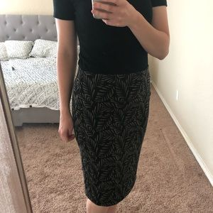 Loft Pencil Skirt (Palm Tree Leaves)